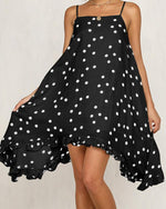 Women's Beach Chiffon Casual Polka Dot Spaghetti Strap Mini Dress