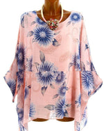 Women High Quality Loose Bat Short Sleeve Printed Blouse Tops