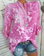 Band Collar Glitter Star Blouses