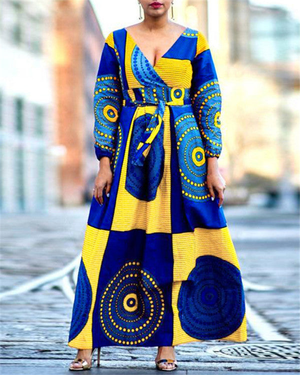 Women's African Print Long Sleeve Evening Maxi Dress