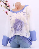 Women Causal Crew Neck Floral Rose Printed Long sleeves Top