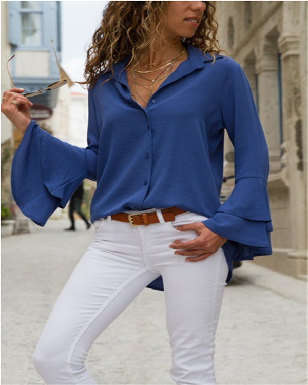 Women's Daily Elegant Long Sleeve Solid Color Blouses