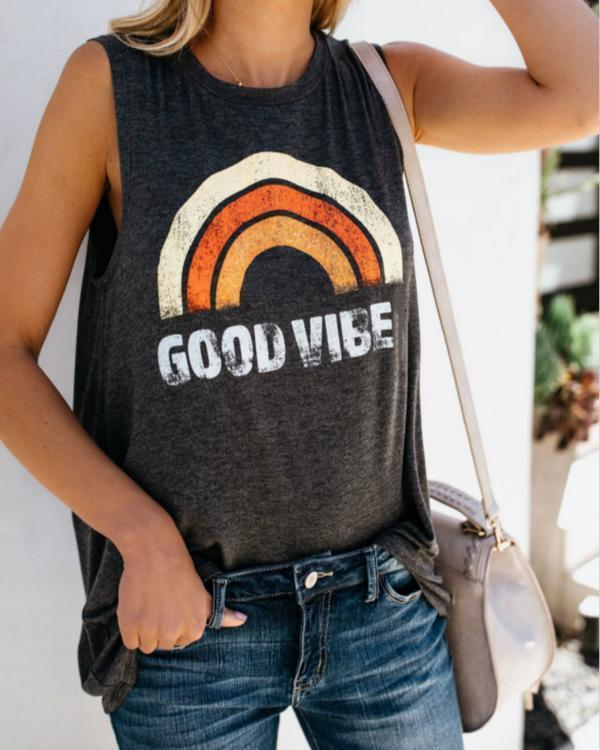 Good Vibes Printed Causal O-Neck Tank Tops For Women