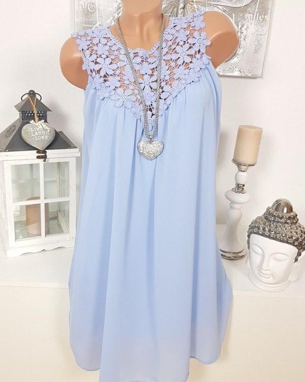 Lace Round Neck Chiffon Sleeveless Vest Tops