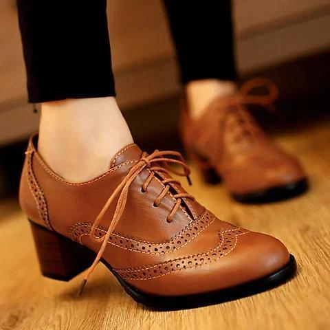 Womens Lace Up All Season Chunky Heel PU Casual Shoes