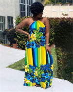 Africa Women Totem Printed Sleeveless Beach Maxi Gallus Dress