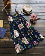 Plus Size Lady Daily Floral Print Summer Dress Sleeveless Mini Dress