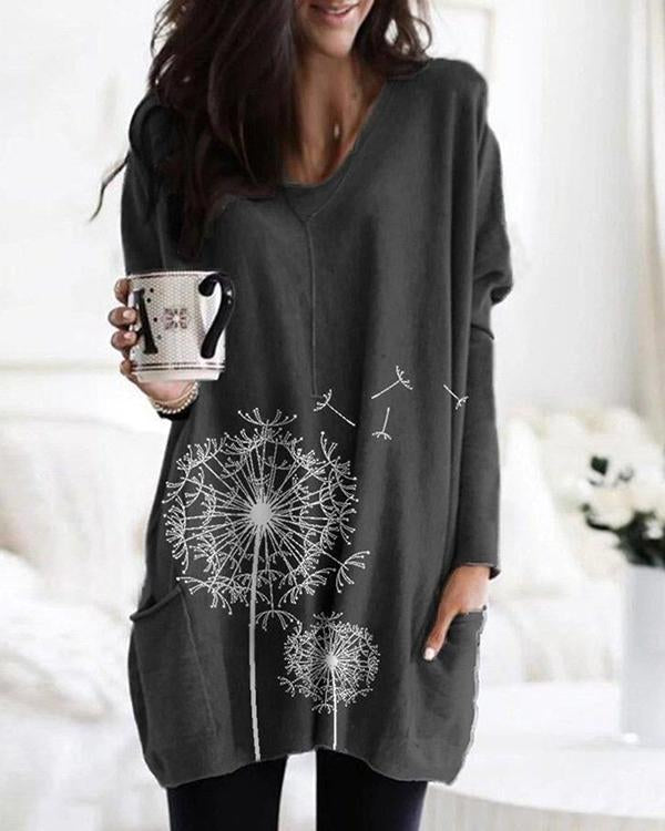Flower Print Pockets Long Sleeve Loose Blouse For Women