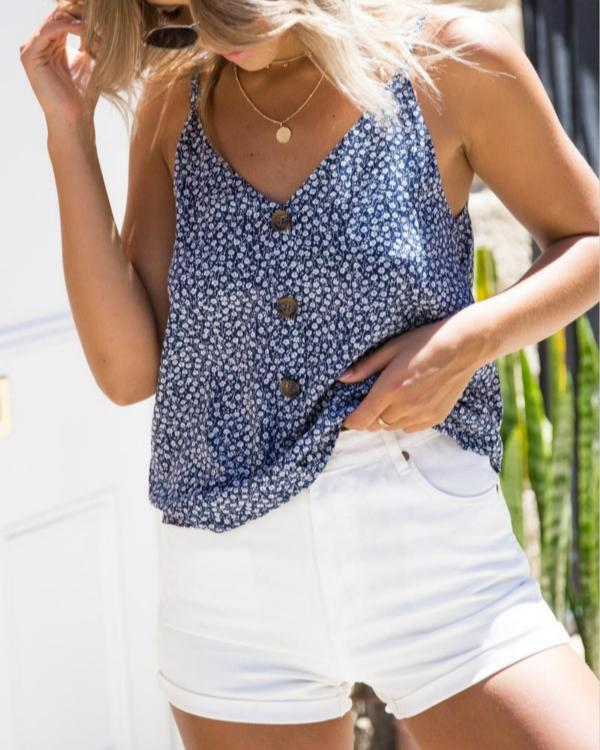 Summer Sexy V Neck Floral Printed Camis Tops