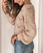Beige Round Neck Long Sleeve Sweater
