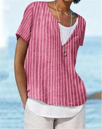 Stripe Summer Women Daily Shift Holiday Casual Blouse