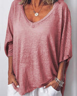 Casual Solid V Neck Long Batwing Sleeve Blouses Tops