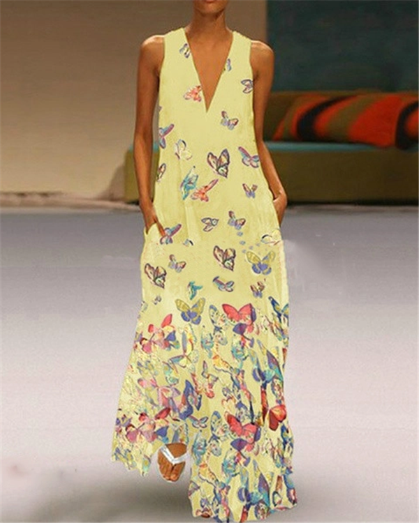 Vintage V Neck Summer Sleeveless Printed  Maxi Dresses