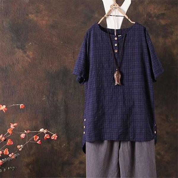 Women Vintage Solid Leisure Linen Plus Size Blouse