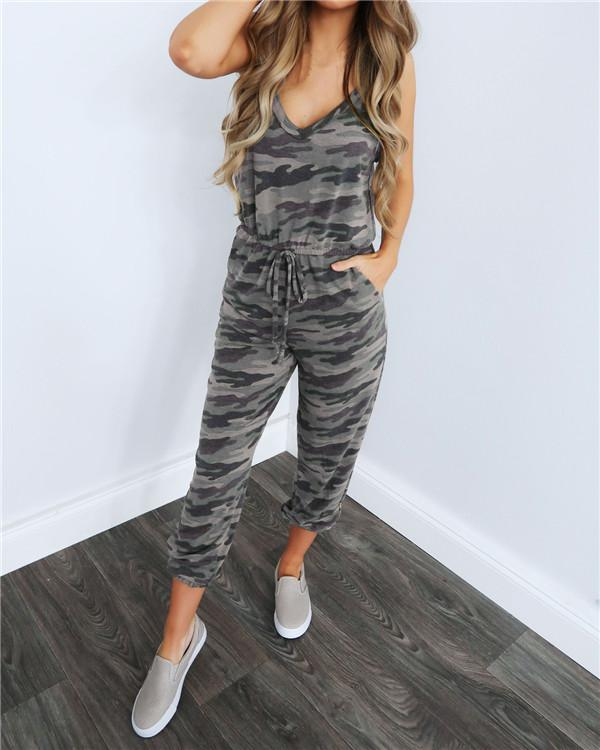 Sleeveless Spaghetti Camouflage Casual Loose  V Neck Daily Jumpsuits