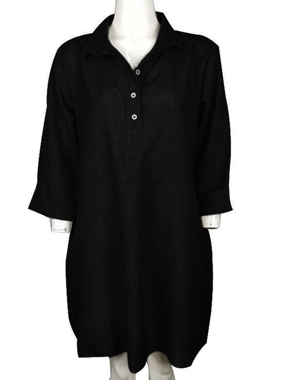 Women Casual Solid Half Sleeve With Pockets Plus Size Dress