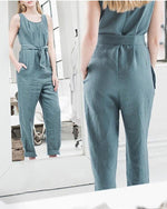 Women Solid Color U-Neck Sleeveless Lace Jumpsuits