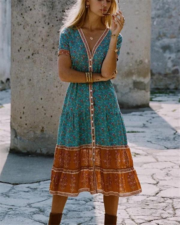 Bohemian V Neck Summer Printed  Midi Dresses