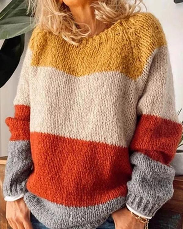 Round Neck Color Block Panel Sweater