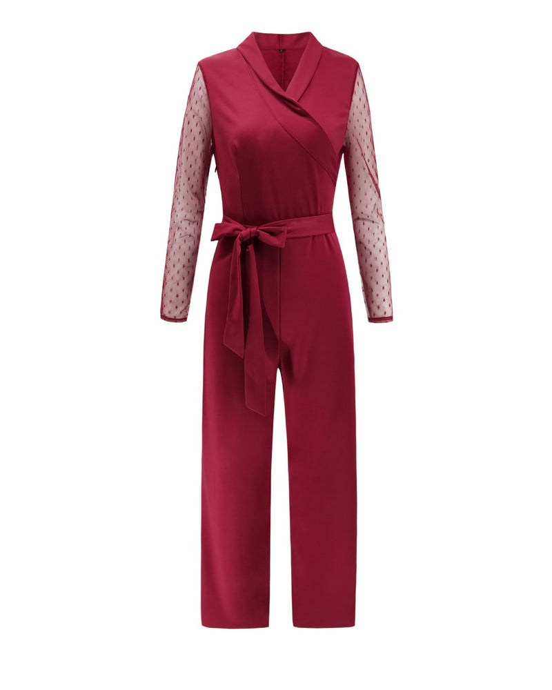 Longs Sleeve V Neck  Polka Dots Women Designer Jumpsuits