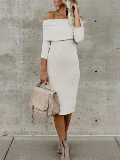 Off Shoulder White Sheath Women Daily 3/4 Sleeve Basic Paneled Fall Dress