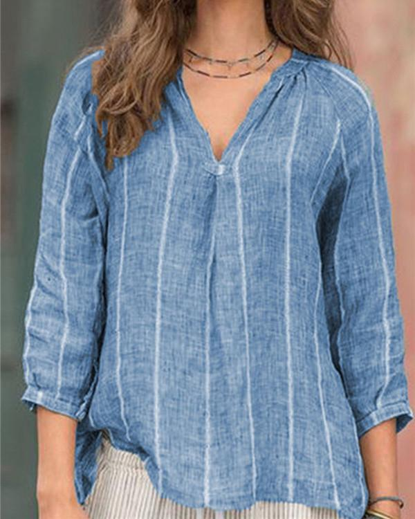 3/4 Sleeve Striped Loose New Casual Lady Daily Shift Tops