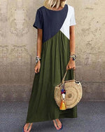 Plus Size Stitching Color Short Sleeve Maxi Dress