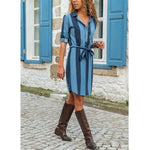 Turn-Down Collar Women Striped Dresses Daily Dresses With Belt