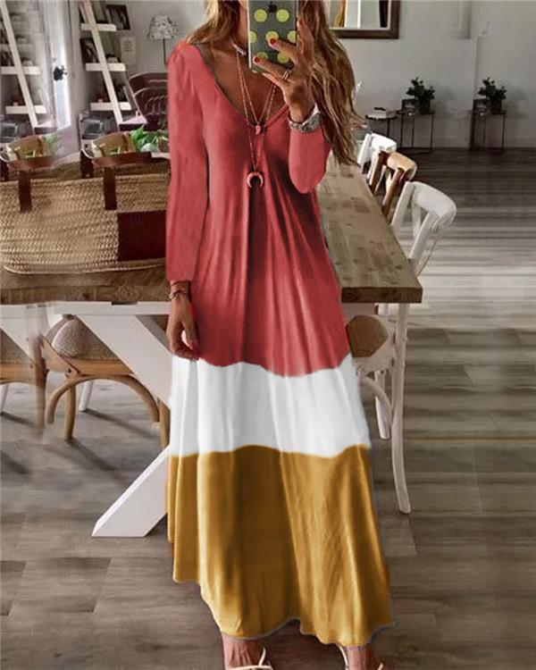 Color Patched Lifestyle Summer Holiday Daily Fashion Maxi Dresses
