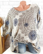 Plus Size Women Floral Printed Fashion Blouse Casual Loose Tops