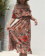 Chiffon Off Shoulder Floral Printed Midi Dress