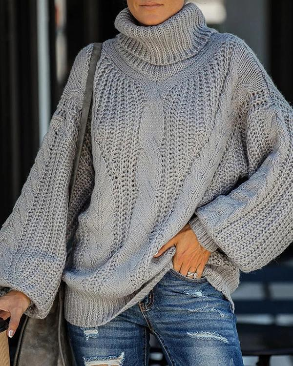Brief Pure Color High Collar Sweater