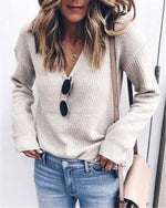 Plus Size Solid  Knitted Women New Fall Sweaters