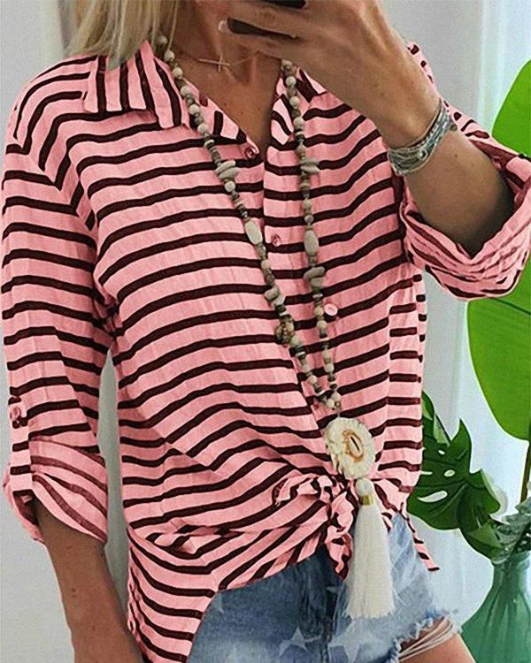 Casual Long Sleeve V-Neck Striped Blouse