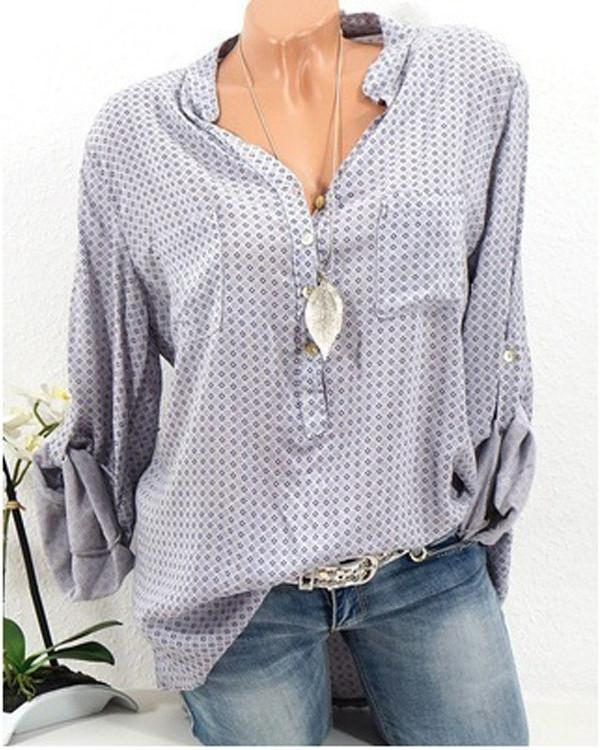 Polka Dots Casual V Neck Stand Collar Blouse