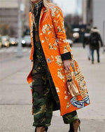 Fashion Floral Printed Fall 3/4 Sleeve Overcoat