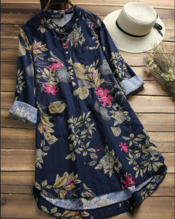 Shawl Collar Women Casual Dresses Shift Daily Vintage Floral Blouses