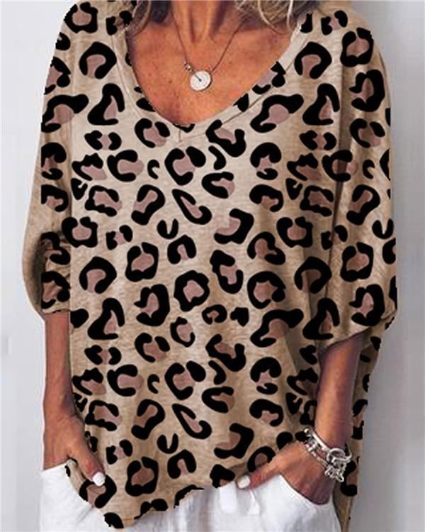 Women Leopard Printed Casual V Neck Loose Tops