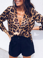 Brown Printed Long Sleeve Leopard Print V neck Blouse