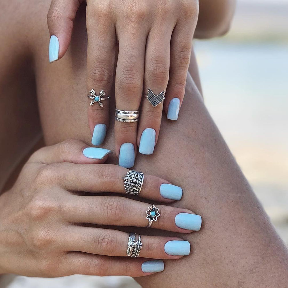 6 Piece Boho Turquoise Rings Sets