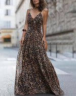 Women Fashion Leopard V-Neck Sleeveless Maxi  Dress