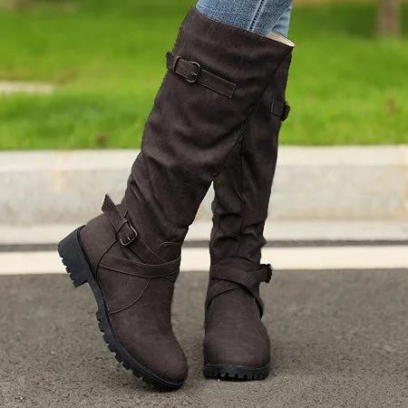 PU Buckle Low Heel Boots