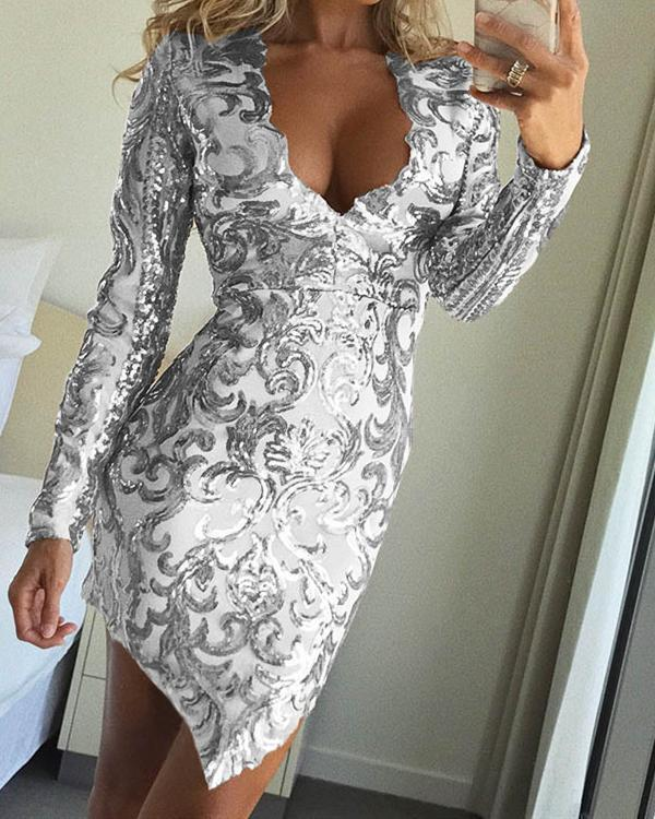 Womens V Neck Solid Long Sleeve Irregular Sequin Embroidered Party Dress