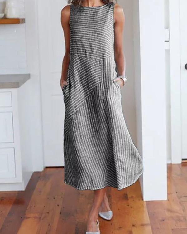Women Crew Neck Dresses Shift Daily Striped Dresses