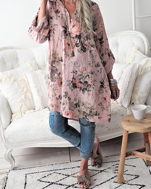 Casual Floral Printed Long Sleeve Shirt Collar Blouse Tops