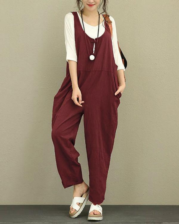 Vintage Pure Color Frog Button Loose Women Sleeveless Jumpsuits