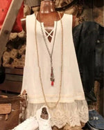 Summer Lace Paneled V Neck Sweet Tanks Tops