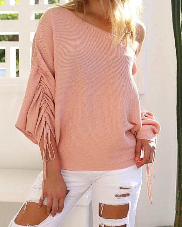 Lace-up Design One Shoulder Long Sleeves Sweaters