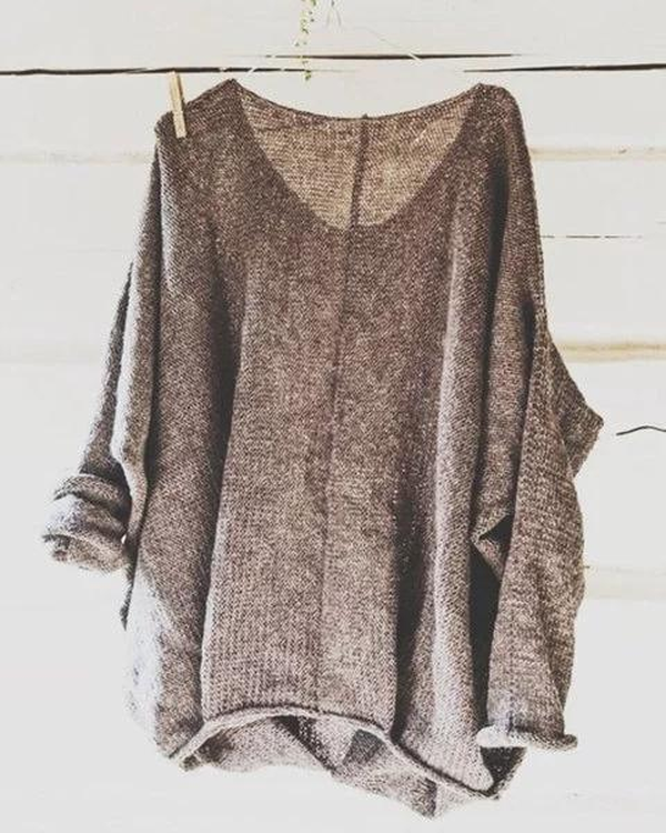 Casual Knitted Long Sleeve Sweater V neck Solid Blouse
