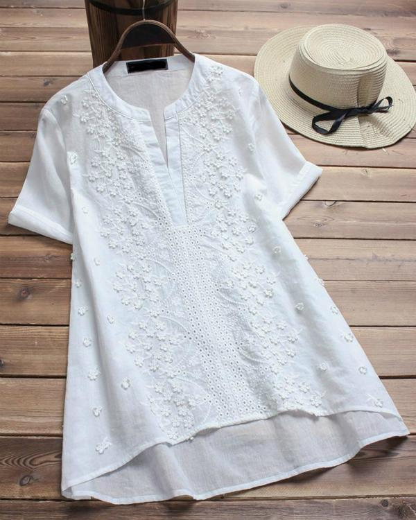 Vintage Embroidered Short Sleeve V-neck Women's Shirts